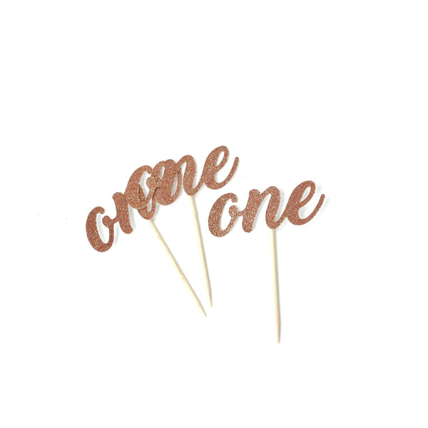 Cake & Cupcake Toppers - Number One Rose Gold Glitter Cupcake Toppers