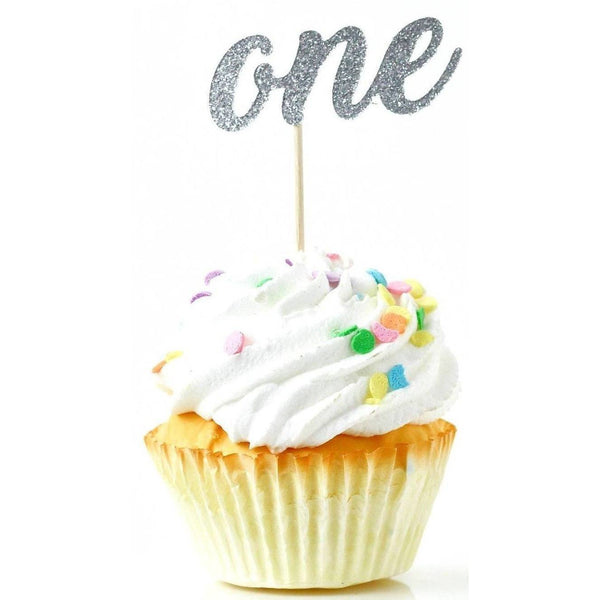 Number One Silver Glitter Cupcake Toppers, Cake & Cupcake Toppers, Jamboree
