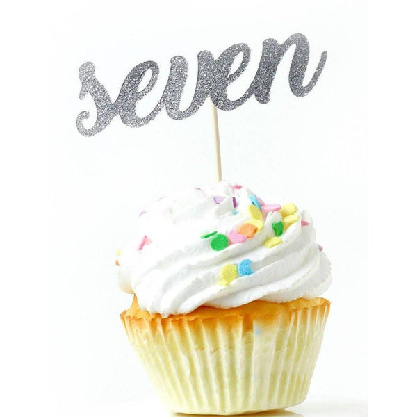 Number Seven Silver Glitter Cupcake Toppers, Cake & Cupcake Toppers, Jamboree