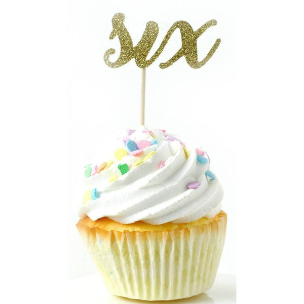 Number Six Gold Glitter Cupcake Toppers, Cake & Cupcake Toppers, Jamboree