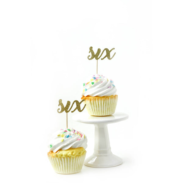 Cake & Cupcake Toppers - Number Six Gold Glitter Cupcake Toppers