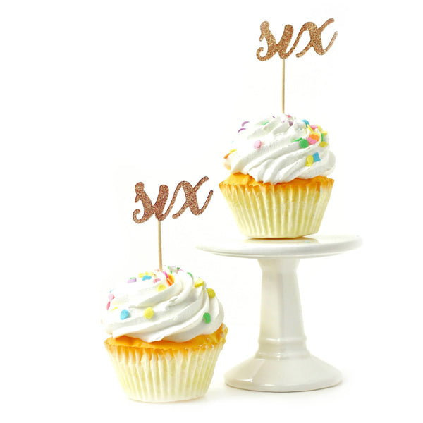 Cake & Cupcake Toppers - Number Six Rose Gold Glitter Cupcake Toppers