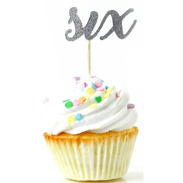 Cake & Cupcake Toppers - Number Six Silver Glitter Cupcake Toppers