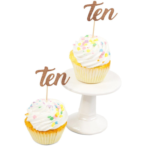 Cake & Cupcake Toppers - Number Ten Rose Gold Glitter Cupcake Toppers