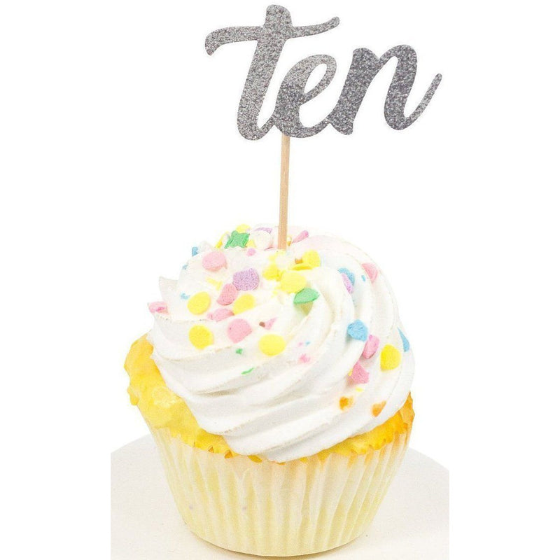Number Ten Silver Glitter Cupcake Toppers, Cake & Cupcake Toppers, Jamboree