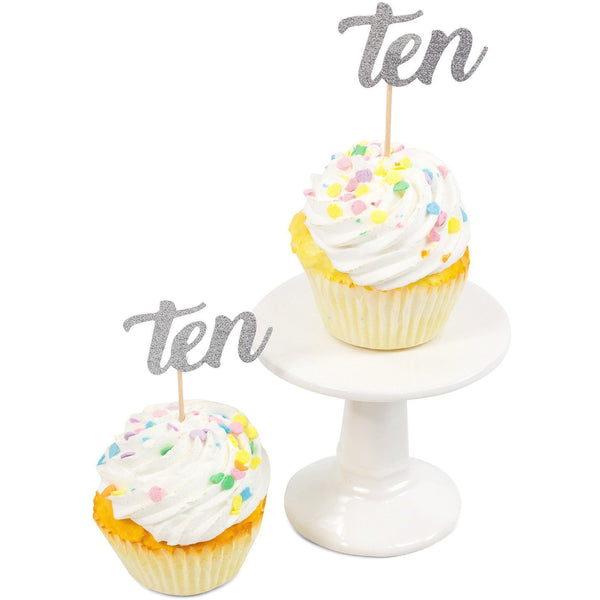 Cake & Cupcake Toppers - Number Ten Silver Glitter Cupcake Toppers