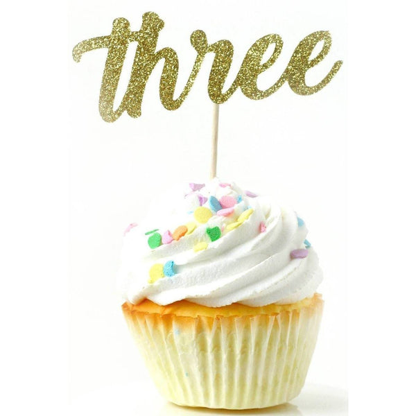 Number Three Gold Glitter Cupcake Toppers, Cake & Cupcake Toppers, Jamboree