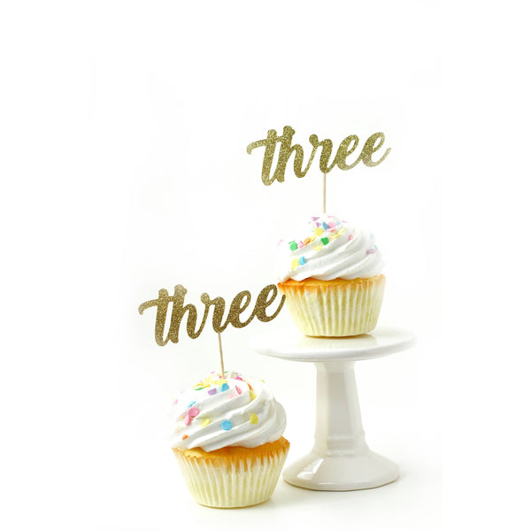 Cake & Cupcake Toppers - Number Three Gold Glitter Cupcake Toppers
