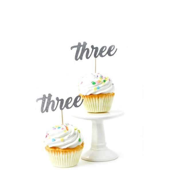 Cake & Cupcake Toppers - Number Three Silver Glitter Cupcake Toppers