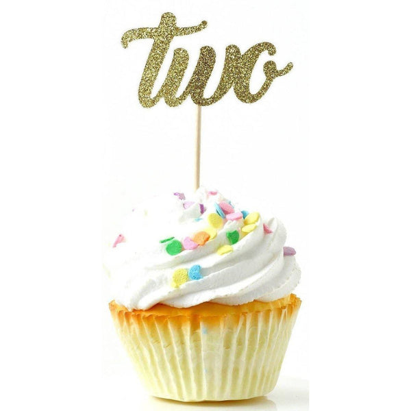 Cake & Cupcake Toppers - Number Two Gold Glitter Cupcake Toppers