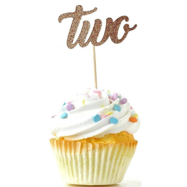 Number Two Rose Gold Glitter Cupcake Toppers, Cake & Cupcake Toppers, Jamboree
