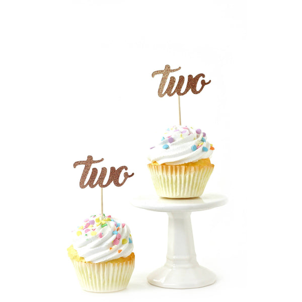 Cake & Cupcake Toppers - Number Two Rose Gold Glitter Cupcake Toppers