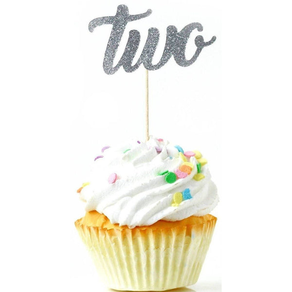 Cake & Cupcake Toppers - Number Two Silver Glitter Cupcake Toppers
