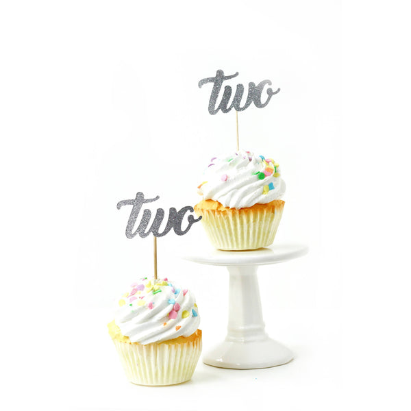 Number Two Silver Glitter Cupcake Toppers, Cake & Cupcake Toppers, Jamboree