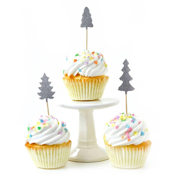 Pine Tree Silver Glitter Cupcake Toppers, Cake & Cupcake Toppers, Jamboree
