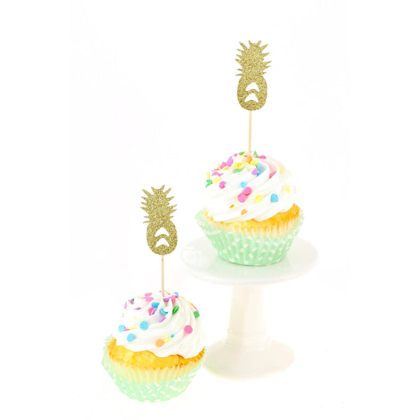 Pineapple Gold Glitter Cupcake Toppers, Cake & Cupcake Toppers, Jamboree