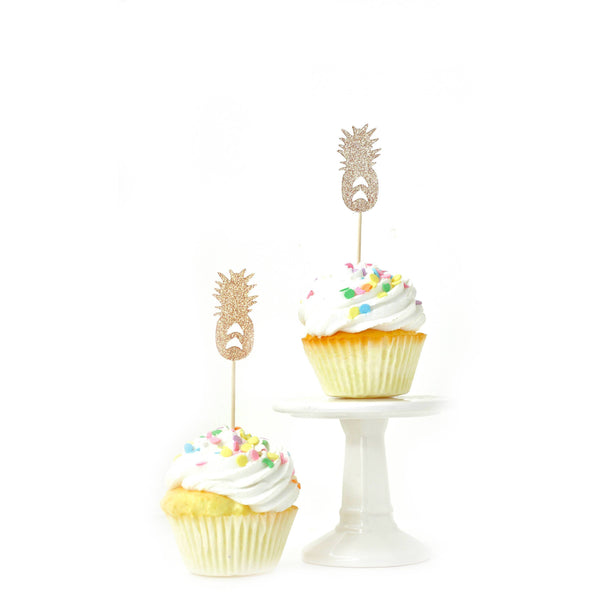 Cake & Cupcake Toppers - Pineapple Rose Gold Glitter Cupcake Toppers