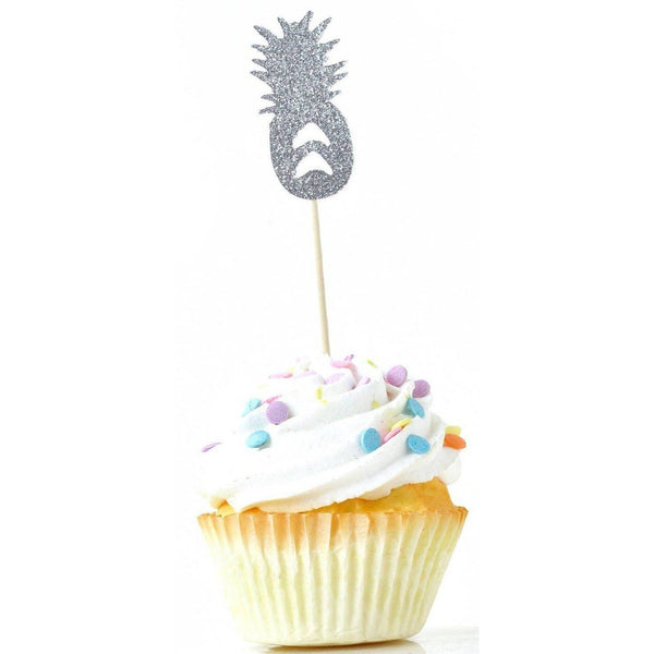 Cake & Cupcake Toppers - Pineapple Silver Glitter Cupcake Toppers