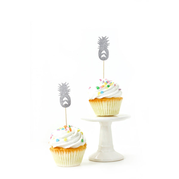Pineapple Silver Glitter Cupcake Toppers, Cake & Cupcake Toppers, Jamboree