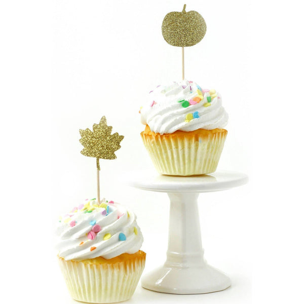 Cake & Cupcake Toppers - Pumpkin/Leaf Gold Glitter Cupcake Toppers