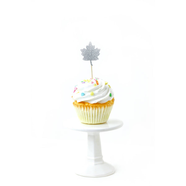 Cake & Cupcake Toppers - Pumpkin/Leaf Silver Glitter Cupcake Toppers