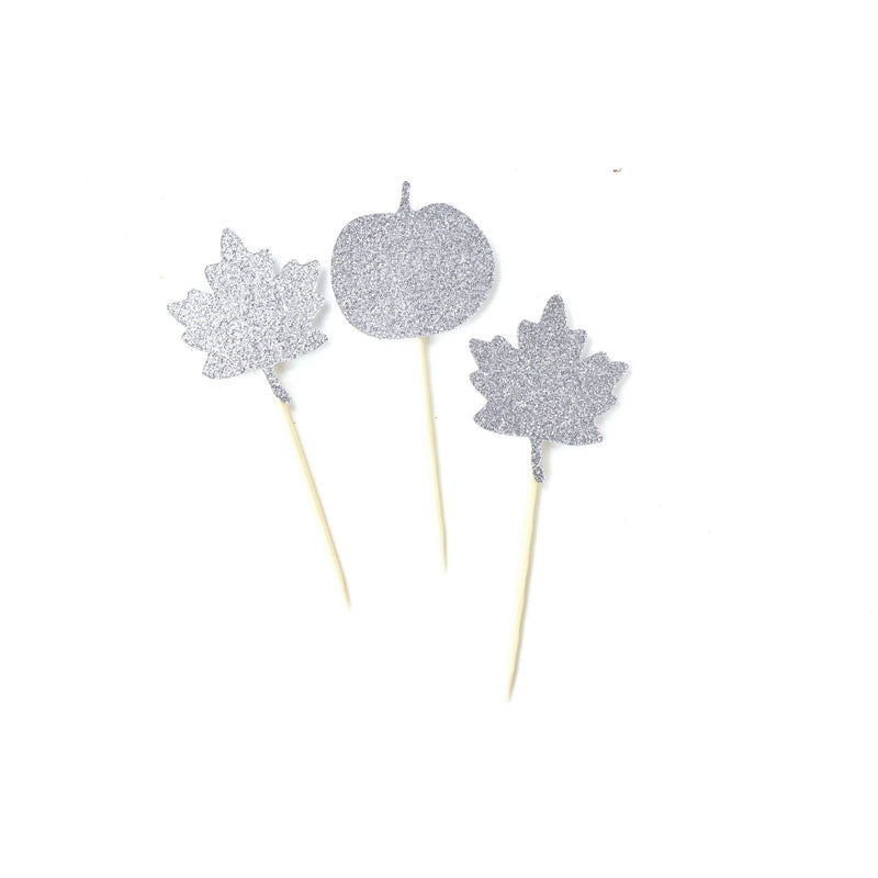 Pumpkin/Leaf Silver Glitter Cupcake Toppers, Cake & Cupcake Toppers, Jamboree