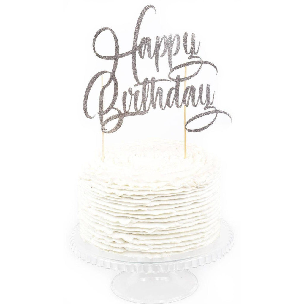 Silver Happy Birthday Cake Topper Jamboree