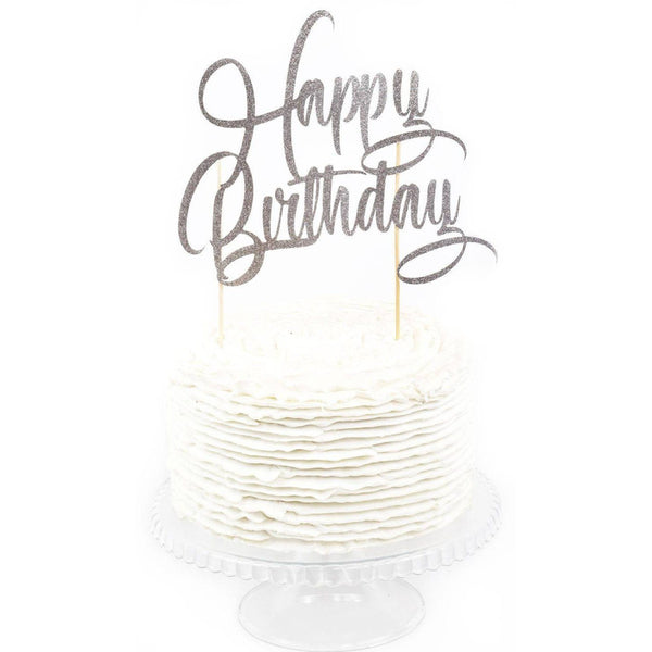 Cake & Cupcake Toppers - Silver 'Happy Birthday' Cake Topper