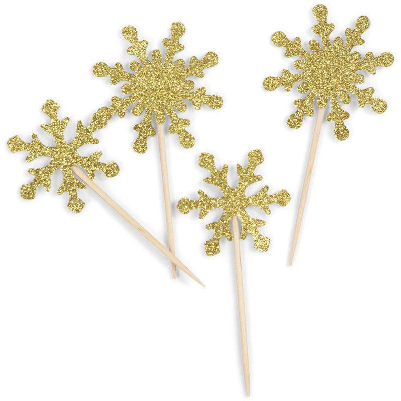 Snowflake Gold Glitter Cupcake Toppers, Cake & Cupcake Toppers, Jamboree