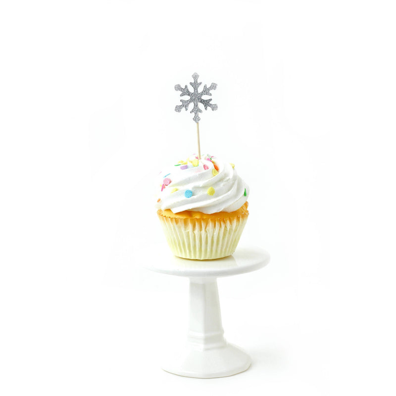 Snowflake Silver Glitter Cupcake Toppers, Cake & Cupcake Toppers, Jamboree