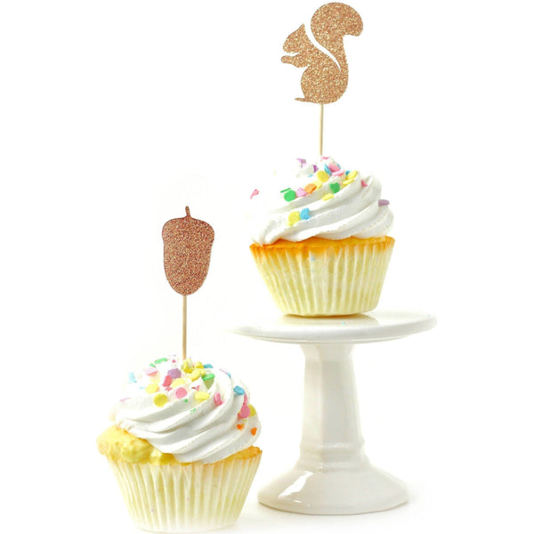 Cake & Cupcake Toppers - Squirrel/Acorn Rose Gold Glitter Cupcake Toppers