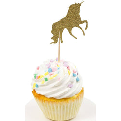 Cake & Cupcake Toppers - Unicorn Gold Glitter Cupcake Toppers