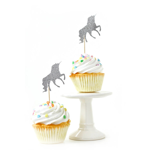 Unicorn Silver Glitter Cupcake Toppers, Cake & Cupcake Toppers, Jamboree