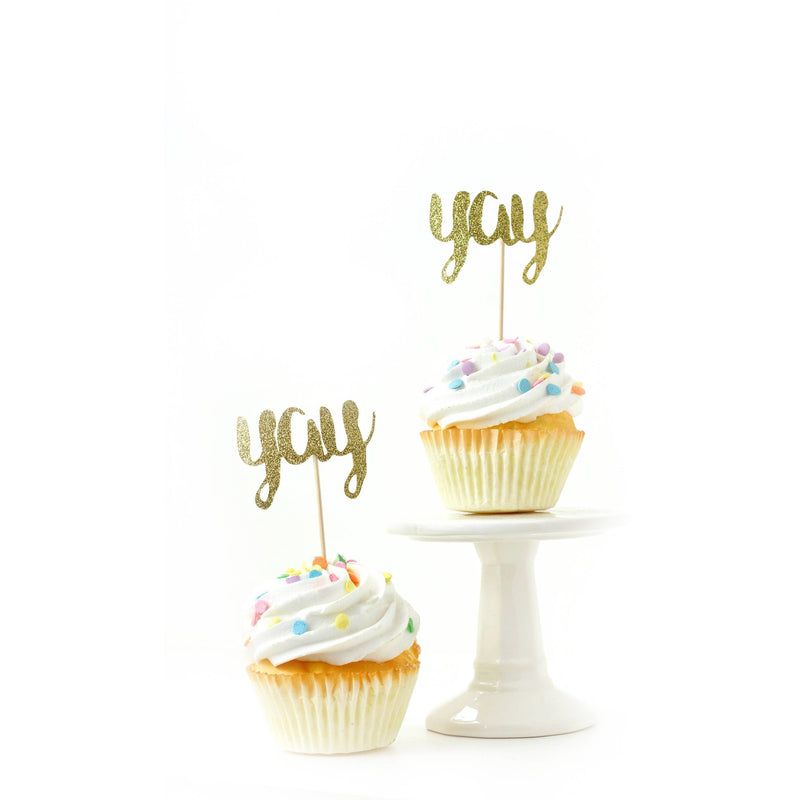 Yay Gold Glitter Cupcake Toppers, Cake & Cupcake Toppers, Jamboree