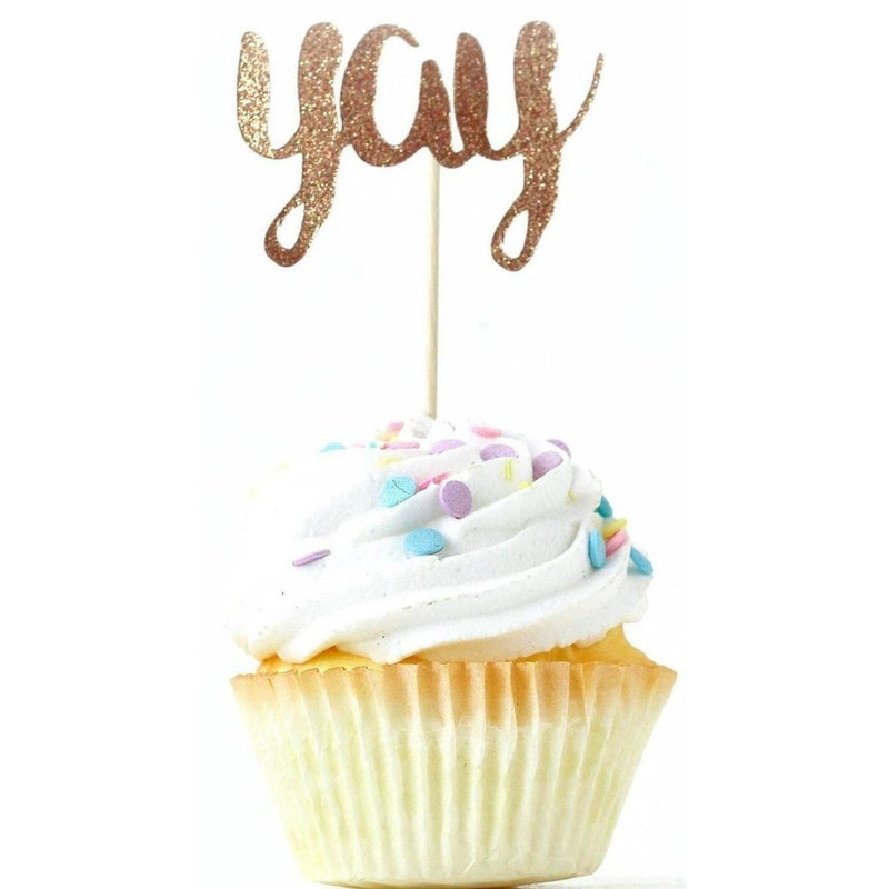 Yay Rose Gold Glitter Cupcake Toppers, Cake & Cupcake Toppers, Jamboree