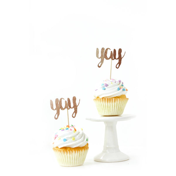Cake & Cupcake Toppers - Yay Rose Gold Glitter Cupcake Toppers
