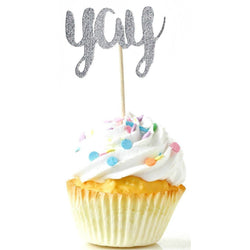 YaySilver Glitter Cupcake Toppers, Cake & Cupcake Toppers, Jamboree