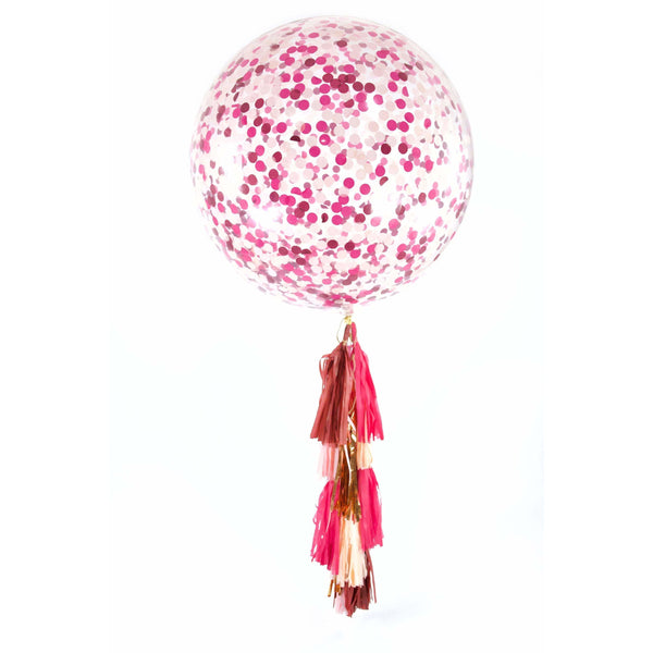 "36"" Pretty N' Pink Confetti Balloon, Decorative Balloons, Jamboree Party Box, Jamboree"