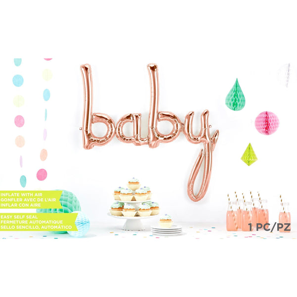 Giant Rose Gold 'Baby' Script Balloon, Decorative Balloons, Jamboree