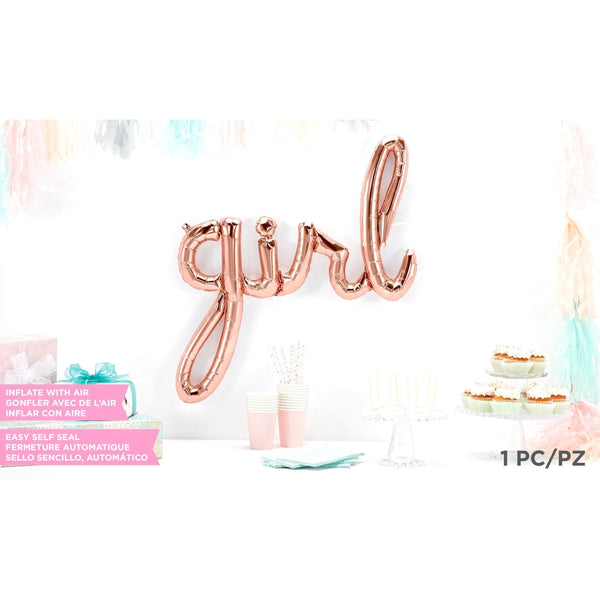 Giant Rose Gold 'Girl' Script Balloon, Decorative Balloons, Jamboree