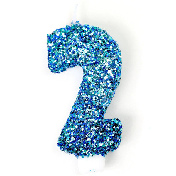 "3"" Coastal Sparkle Number 2 Candle, Glitter Candles, Jamboree"