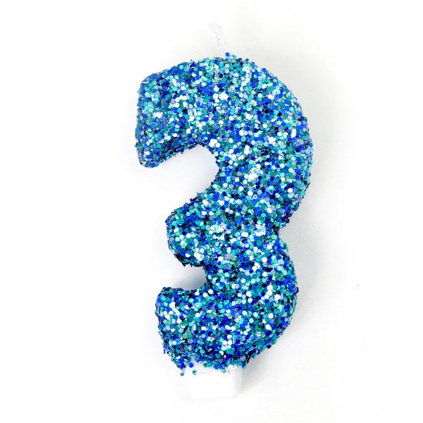"3"" Coastal Sparkle Number 3 Candle, Glitter Candles, Jamboree Party Box, Jamboree"