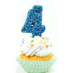 "3"" Coastal Sparkle Number 4 Candle, Glitter Candles, Jamboree"