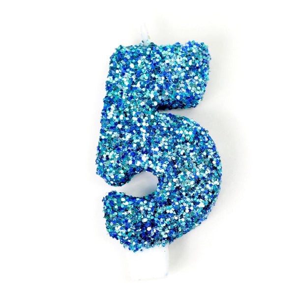 "3"" Coastal Sparkle Number 5 Candle, Glitter Candles, Jamboree"