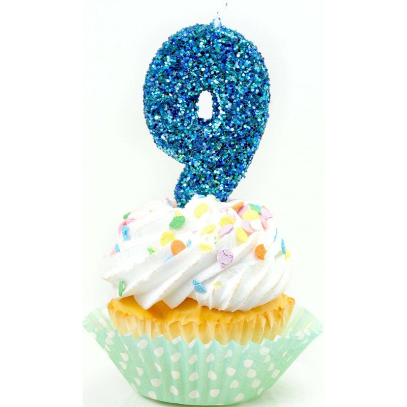 "3"" Coastal Sparkle Number 9 Candle, Glitter Candles, Jamboree Party Box, Jamboree"