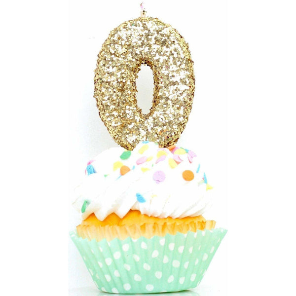 "3"" Gold Number 0 Candle, Glitter Candles, Jamboree"