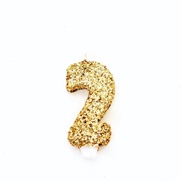 "3"" Gold Number 2 Candle, Glitter Candles, Jamboree"