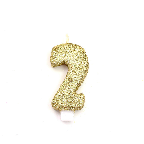 "3"" Gold Number 2 Candle, Glitter Candles, Jamboree Party Box, Jamboree"