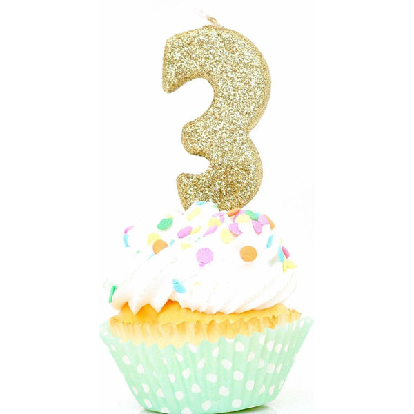 "3"" Gold Number 3 Candle, Glitter Candles, Jamboree Party Box, Jamboree"