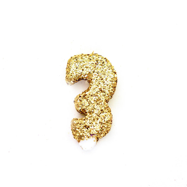 "3"" Gold Number 3 Candle, Glitter Candles, Jamboree"